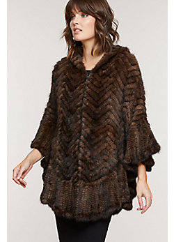 Bettina Herringbone Zip Knitted Mink Fur Poncho