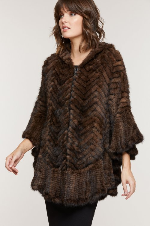 Bettina Zip-Front Herringbone Knitted Mink Fur Poncho