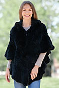 Missy Knitted Rex Rabbit Fur Poncho