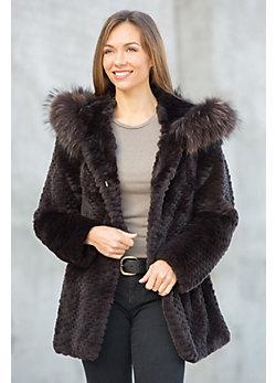 Eugenia Rex Rabbit Fur Popcorn-Carved Hooded Coat with Raccoon Fur Trim