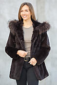 Eugenia Rex Rabbit Fur Popcorn-Carved Hooded Coat with Raccoon Fur Trim