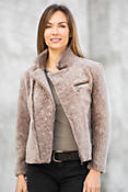 Camilla Mouton Shearling Sheepskin Motorcycle Jacket