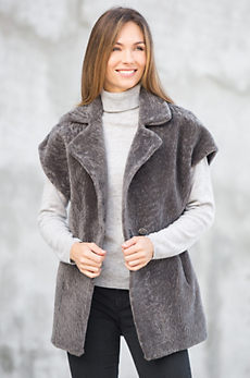 Zara Mouton Shearling Sheepskin Vest