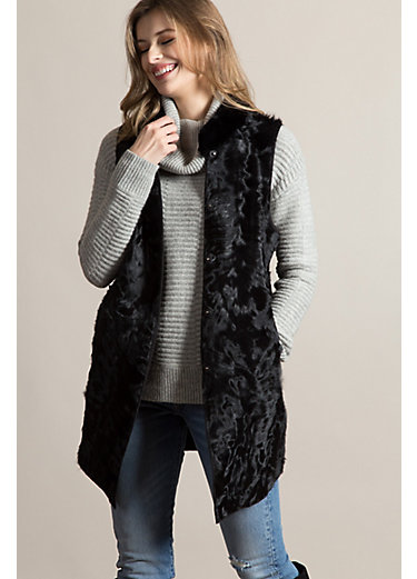 Cameron Reversible Curly Kalgan Lamb Fur and Wool Vest with Rabbit Fur Collar