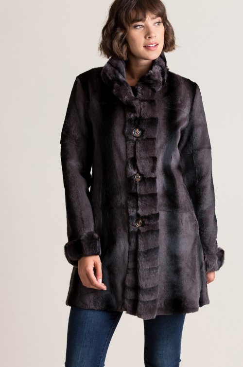 Inez Reversible Spanish Rex Rabbit Fur Coat
