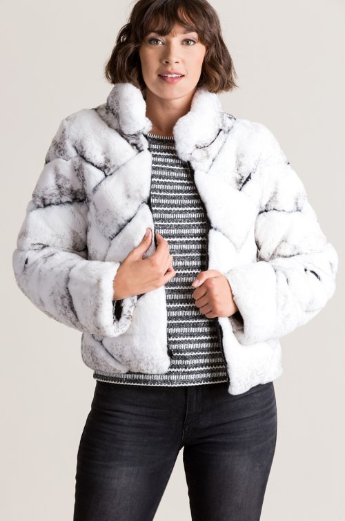 Salina Reversible Rex Rabbit Fur Jacket
