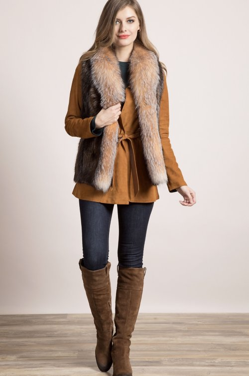 Raquel Long-Haired Beaver Fur Vest with Fox Fur Trim