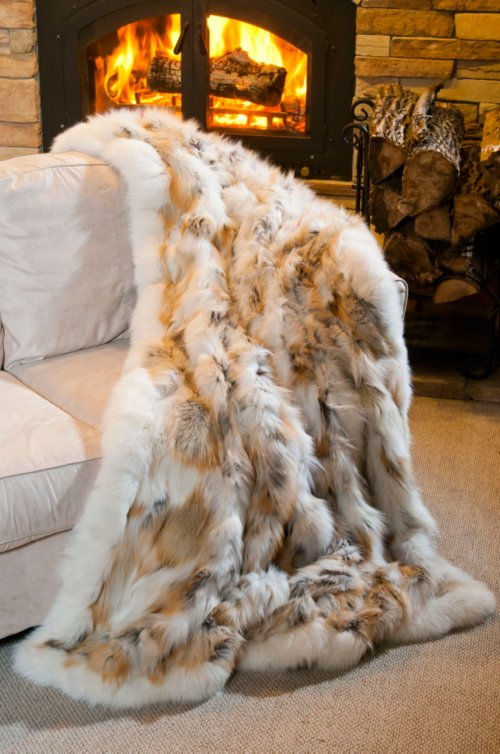 Golden Island Fox Fur Throw Blanket