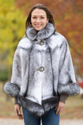 Chanice Mink Fur Cape with Silver Fox Fur Trim