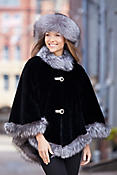 Anita Beaver Fur Cape with Fox Fur Trim