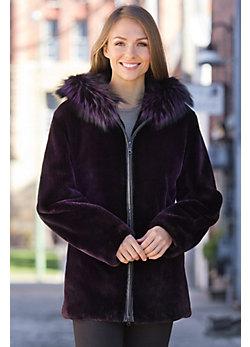 Myra Beaver Fur Coat with Silver Fox Fur Trim