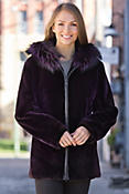 Myra Beaver Fur Coat with Silver Fox Fur Trim