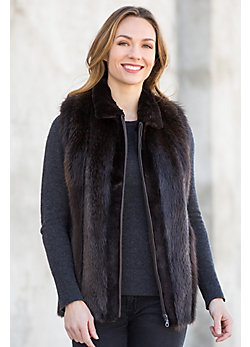 Nancy Long-Haired Beaver Fur Vest with Sheared Beaver Fur Trim