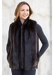 Nancy Long-Haired Beaver Fur Vest with Sheared Beaver Fur Trim
