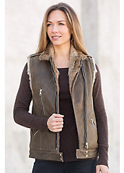 Dominica Moto Lambskin Leather Vest with Rabbit Fur Lining