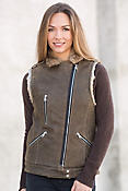Dominica Lambskin Leather Moto Vest with Rabbit Fur Lining