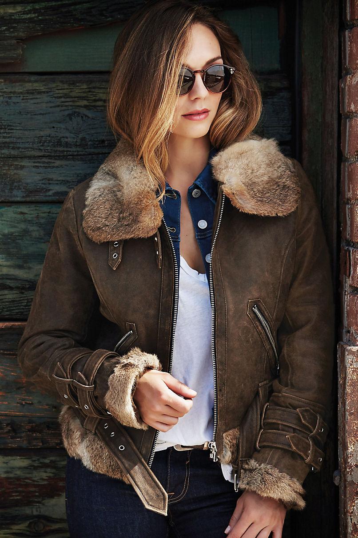 Zoe Lambskin Leather Bomber Jacket with Rabbit Fur Trim