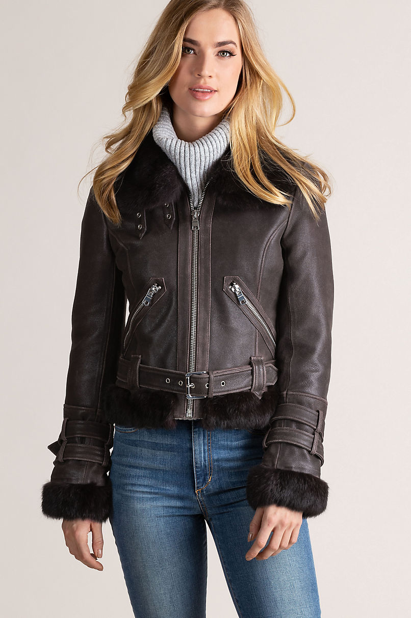 Zoe Lambskin Leather Bomber Jacket with Rabbit Fur Trim