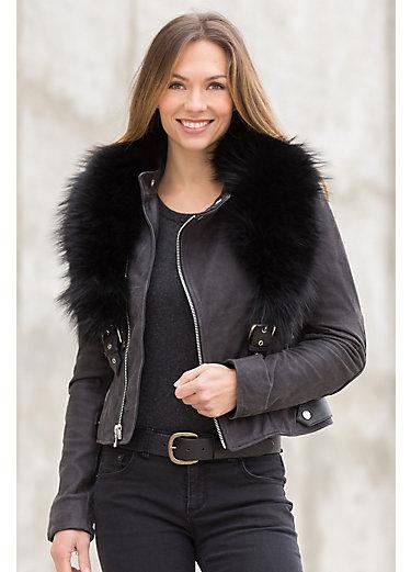 Andromeda Calfskin Leather Moto Jacket with Detachable Raccoon Fur Collar