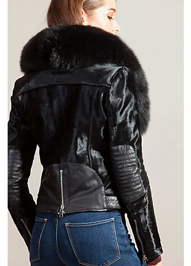 Starr Calfskin Fur Moto Jacket with Detachable Fox Fur Collar