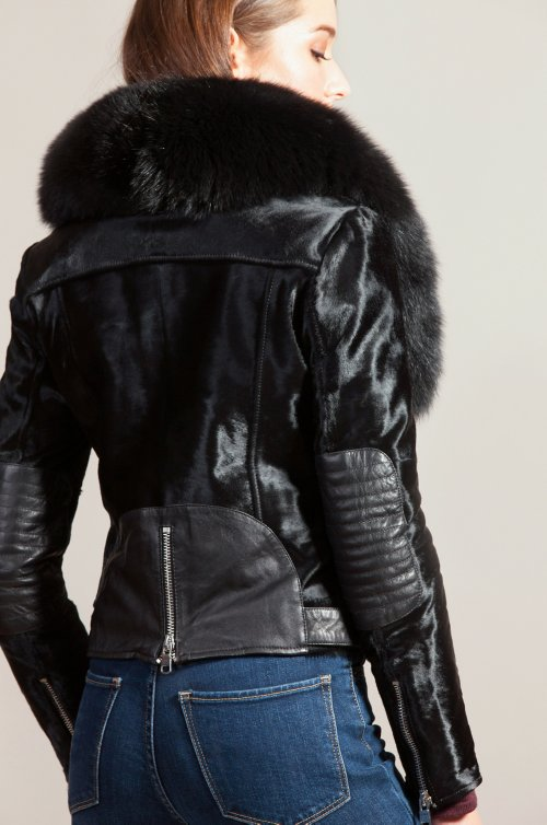 Starr Calfskin Leather Moto Jacket with Detachable Fox Fur Collar