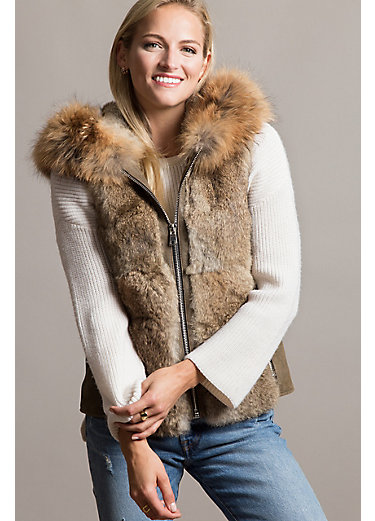 Naomi Lambskin Leather and Rex Rabbit Fur Vest with Raccoon Fur Trim