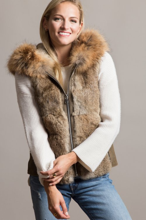 Naomi Lambskin Leather and Rex Rabbit Fur Vest with Raccoon Fur Trim