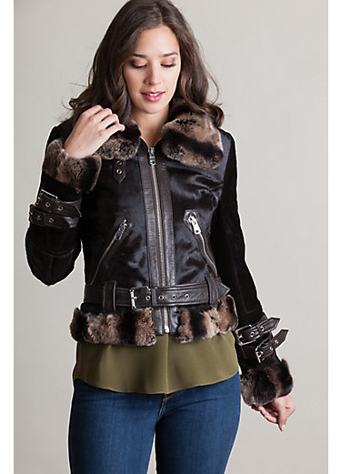 Gianna Calfskin Fur Moto Jacket with Rex Rabbit Fur Trim