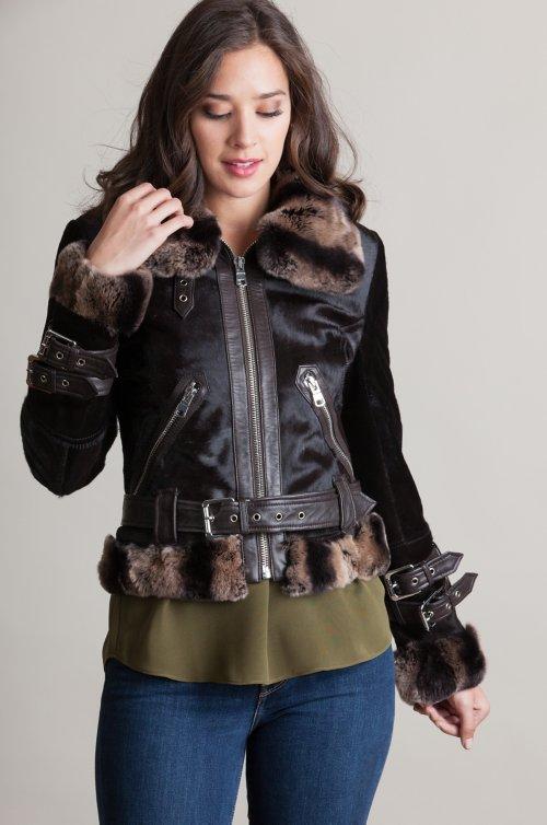 Gianna Calfskin Fur Moto Jacket with Rex Rabbit Fur Trim
