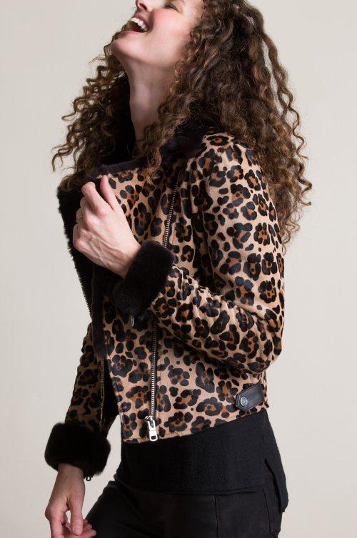 Selena Calfskin Fur Moto Jacket with Rex Rabbit Fur Trim