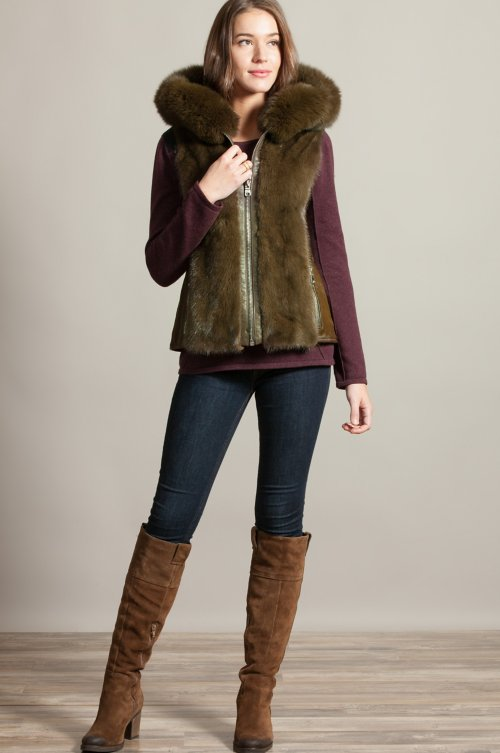 Trudy Hooded Calfskin Fur Vest with Mink and Fox Fur Trim