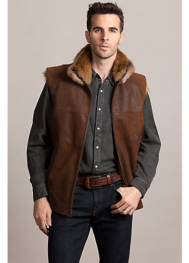 Gabriel Distressed Lambskin Leather Vest with Red Fox Fur Lining
