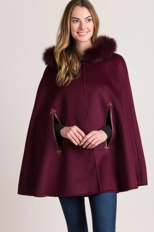 Marietta Hooded Wool Cape with Fox Fur Trim