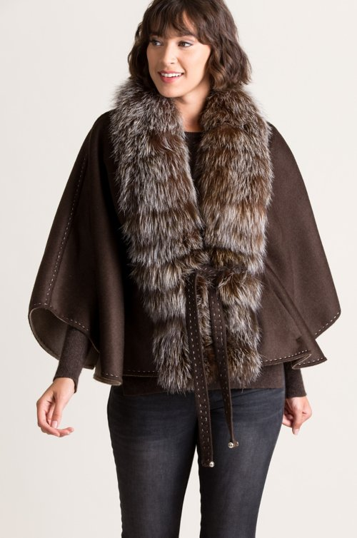 Brianna Cashmere-Blend Cape with Fox Fur Trim