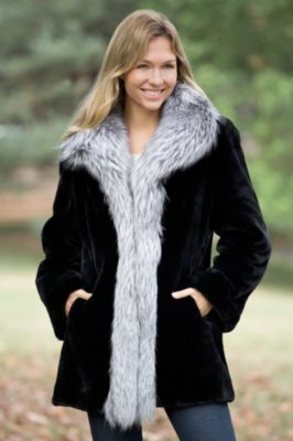 Providence Beaver Fur Coat with Fox Fur Trim