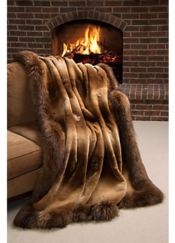 Winter Palace Sheared Beaver Fur Blanket (104 x 88 King)