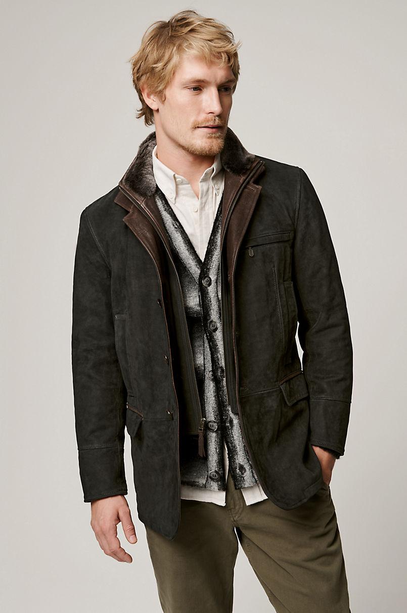 Carlsbad Calfskin Leather Blazer with Shearling Collar