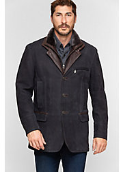 Carlsbad Calfskin Leather Blazer with Shearling Collar