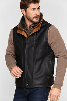 Trekker Goatskin Leather Vest with Shearling Collar