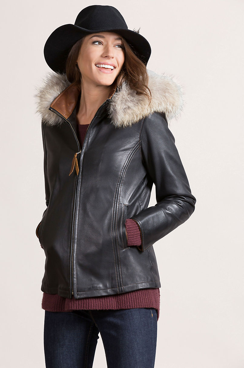 Marie Claire Lambskin Leather Jacket with Coyote Fur Trim
