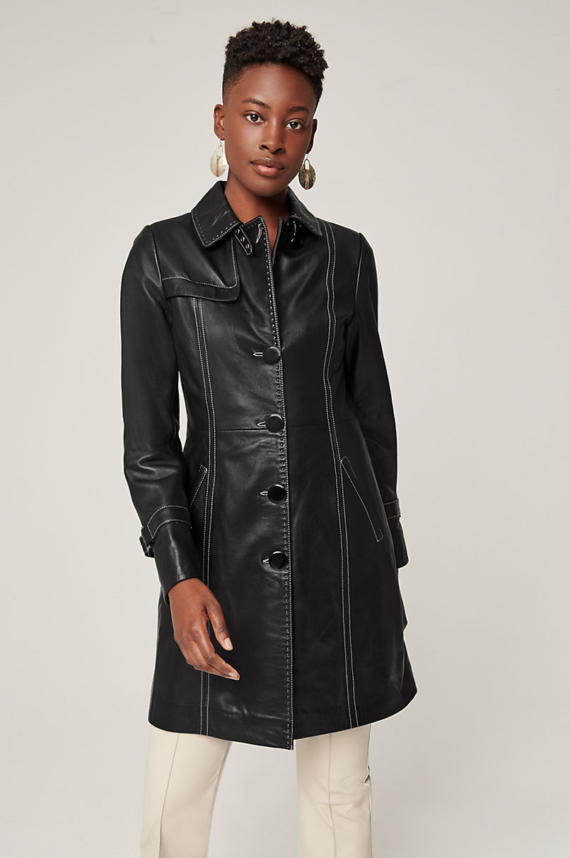 Mia Italian Lambskin Leather Coat