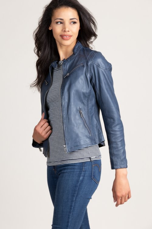 Sandy Lambskin Leather Moto Jacket