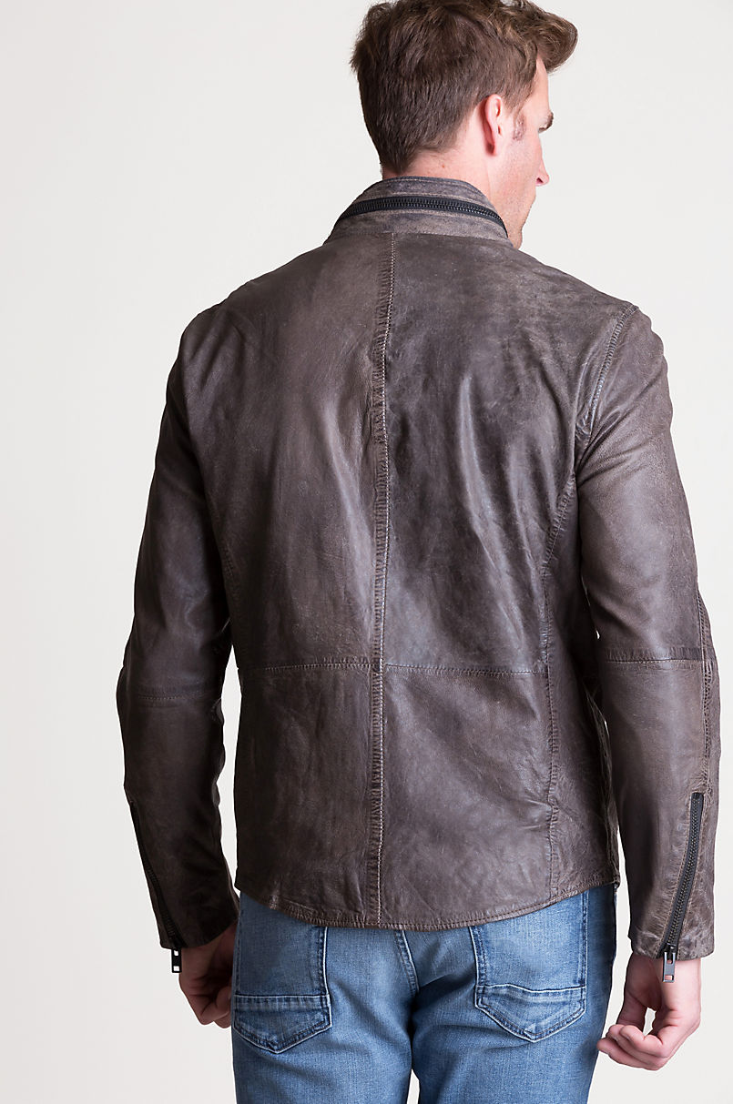 Cove Distressed Lambskin Leather Jacket