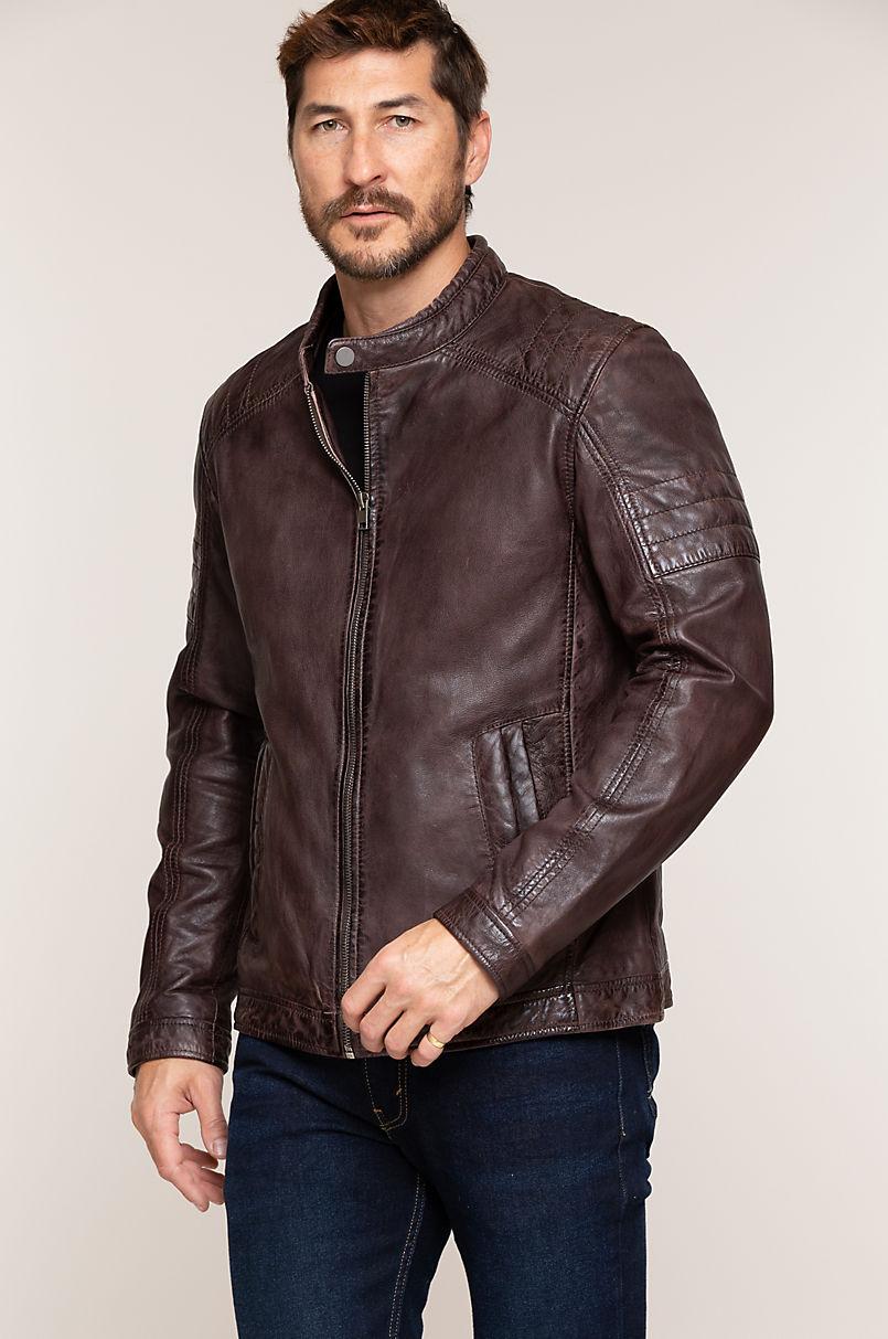 Cave Men's Brown Lambskin Leather Moto Jacket