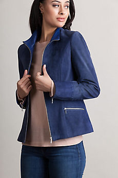 Katie Lambskin Suede Leather Jacket with Leather Trim