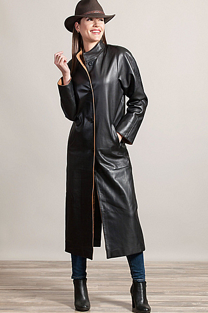 Vickie Full-Length Lambskin Leather Coat | Overland