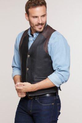 Garrison Bison Leather Vest with Concealed Carry Pockets
