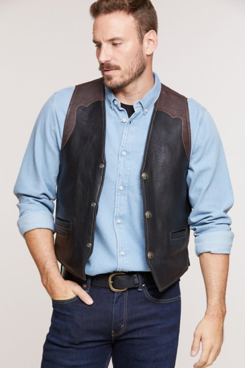 Garrison Bison Leather Vest with Concealed Carry Pockets - Big (50 - 54)