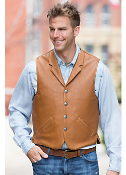 Gage Bison Leather Vest with Concealed Carry Pockets (Tall)