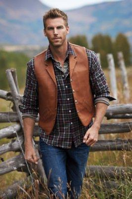 Gage Bison Leather Vest with Concealed Carry Pockets - Big (50 - 54)